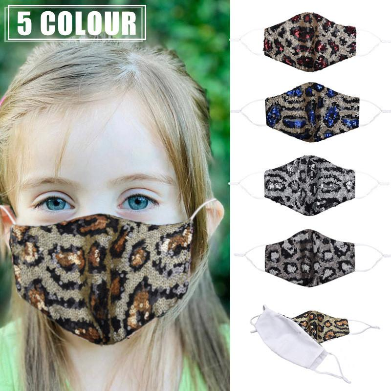 Kids Face Mask Fashion Bling Bling Leopard Sequins Child Protective Dustproof Washable Reusable Children Mouth Can Insert Filter HHC2019
