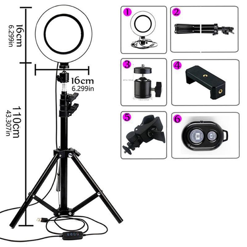 Dim Led Selfie Halka Işık Tripod Ile USB Selfie Işık Halka Lambası Büyük Fotoğrafçılık Ring Ile Cep Telefonu Stüdyosu