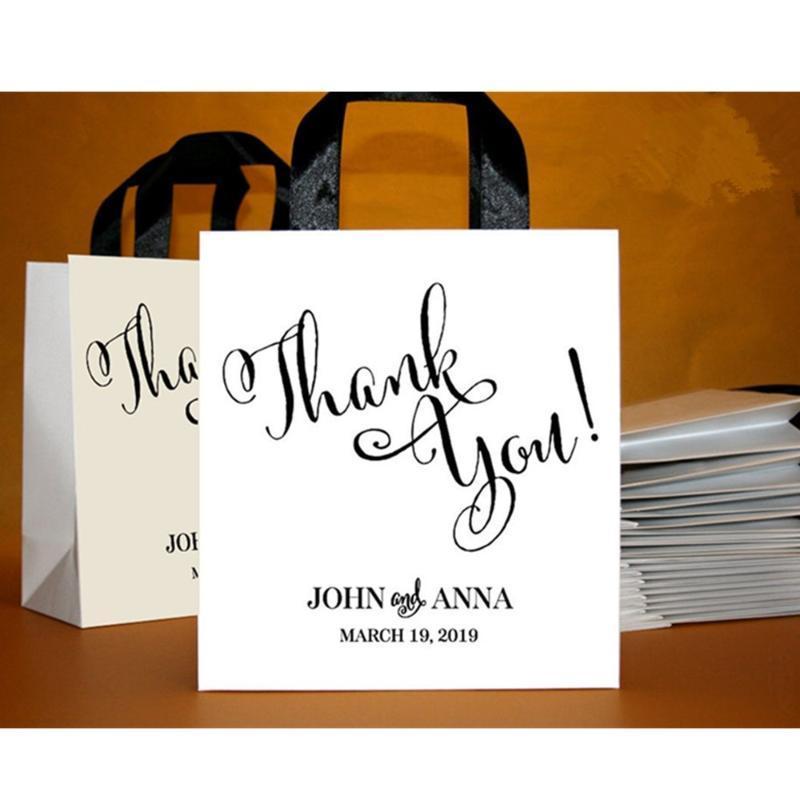 30 Nous vous remercions de sacs cadeaux avec ruban et noms, sac de bienvenue personnalisé pour les invités, Merci du sac de ville, faveurs de mariage