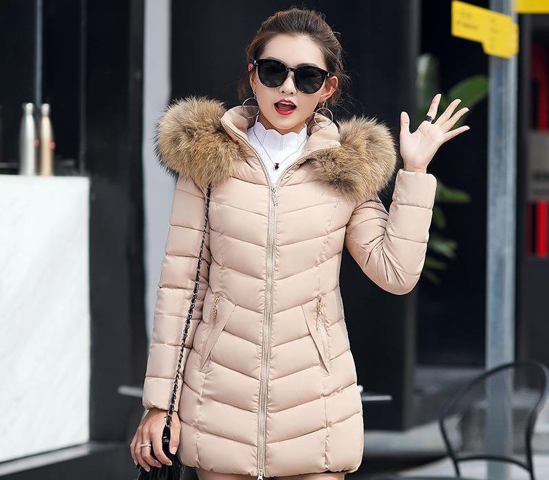 2018 Casual invierno de las mujeres abajo de la chaqueta larga delgada de algodón acolchado de la piel de imitación collar de la capa encapuchada del tamaño Parka señora Plus Jacket66
