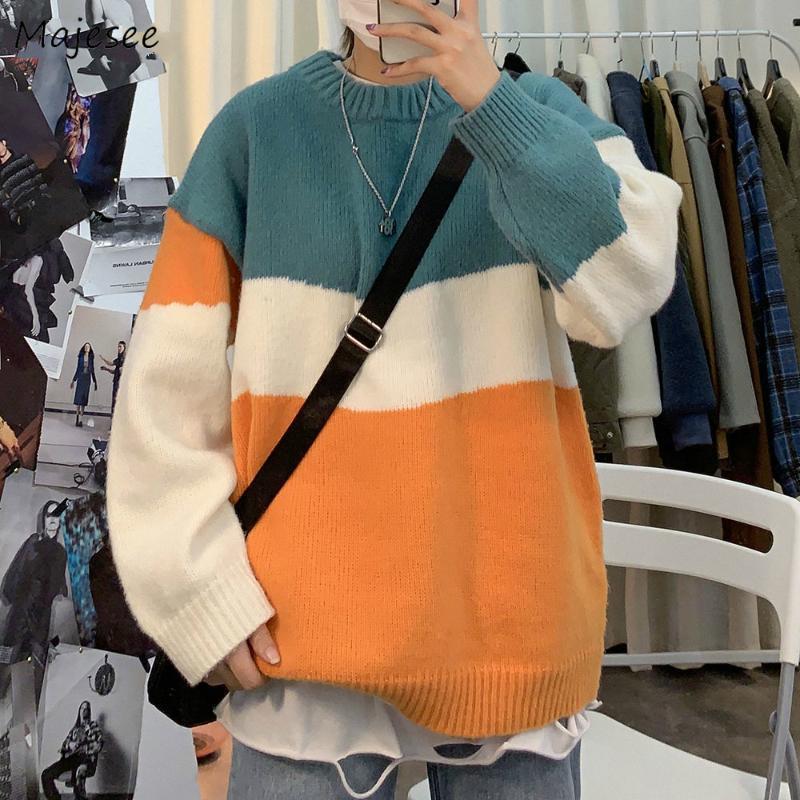 Hombres jerseys de punto de alta calidad ropa caliente del invierno coreano del estilo casual para hombre Streetwear Todo-fósforo flojo suave O-Cuello de manga larga