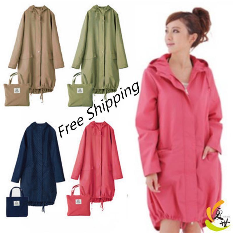 Larga delgada del impermeable Mujeres capucha impermeable Luz capa de lluvia Ponchos chaquetas Capa Mujer Chubasqueros Impermeables Mujer