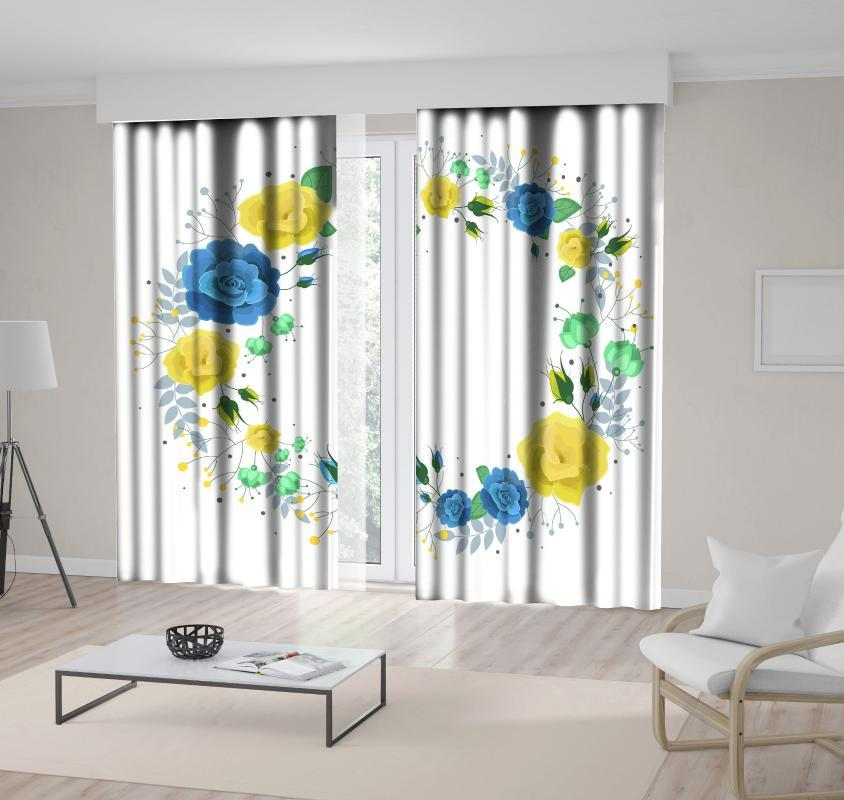 Curtain Fiori Foglie Fiori corona floreale Summer Love celebrazione Tema Arte Stampato Blu Verde Giallo