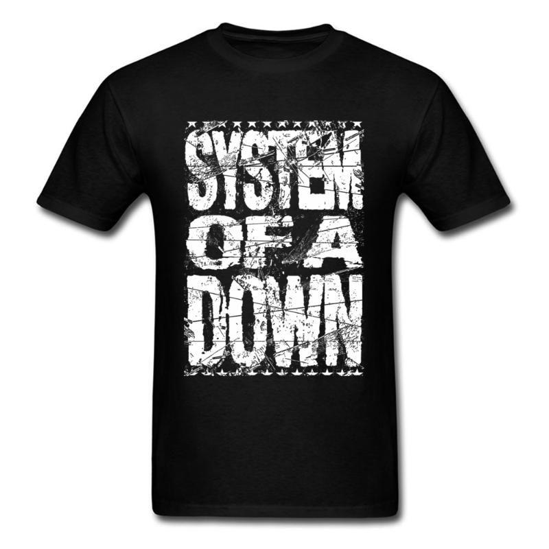 System Of A Down T-shirt des hommes Logo T-shirt Hip Hop T Mode Vêtements Noir Blanc Lettre Vintage Tops Band T-shirts