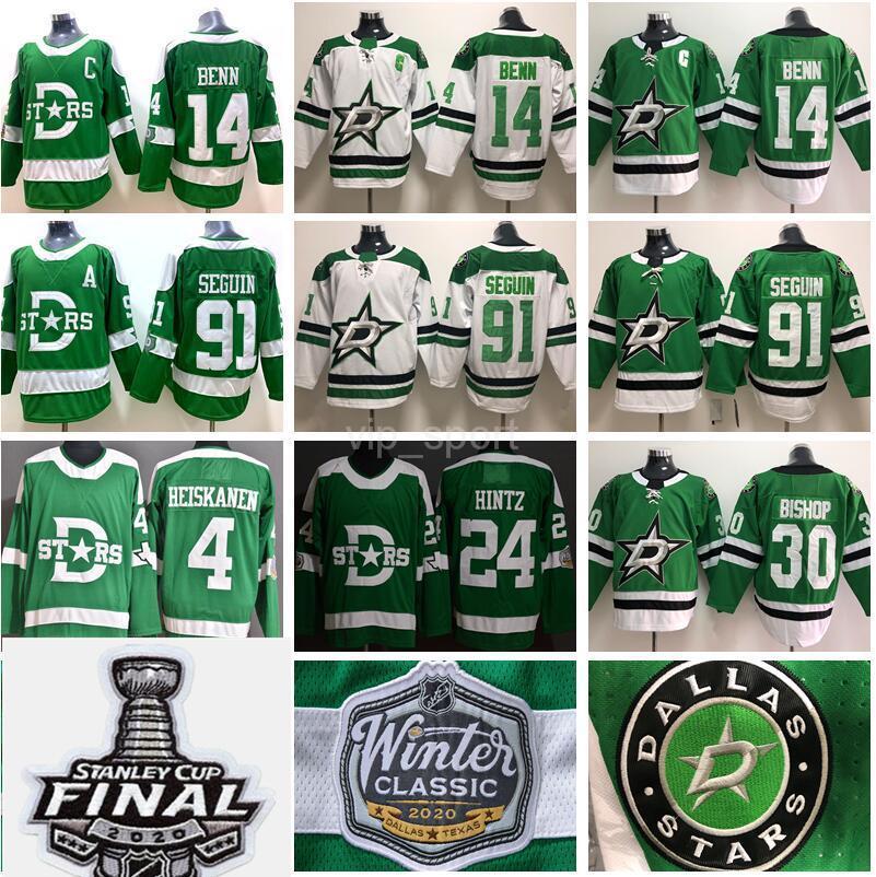 2020 Stanley Cup Finals Dallas Stars Jersey 14 Jamie Benn 91 Tyler Seguin Miro Heiskanen Ben Bispo Inverno Clássico Verde Branco Hóquei Homem