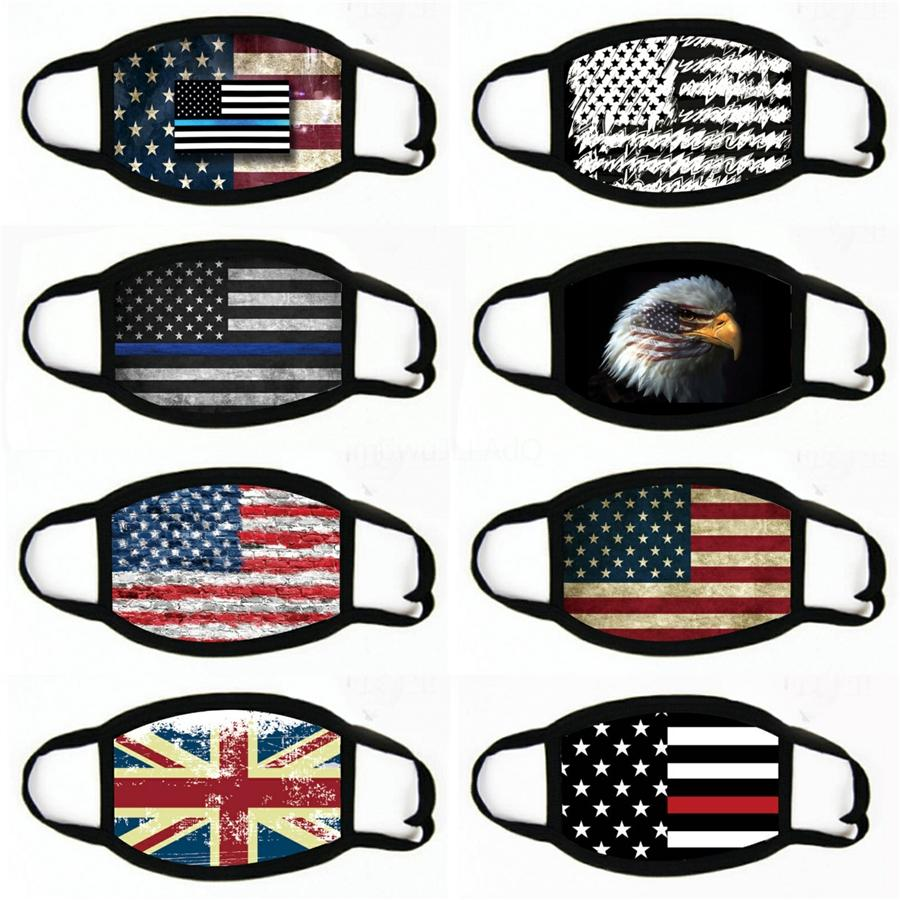 América mascarilla de dibujos animados PrintedUSA bandera del estampado leopardo Máscaras anti polvo lavable exterior MouthDesigner LJJA4108 # 702 # 925