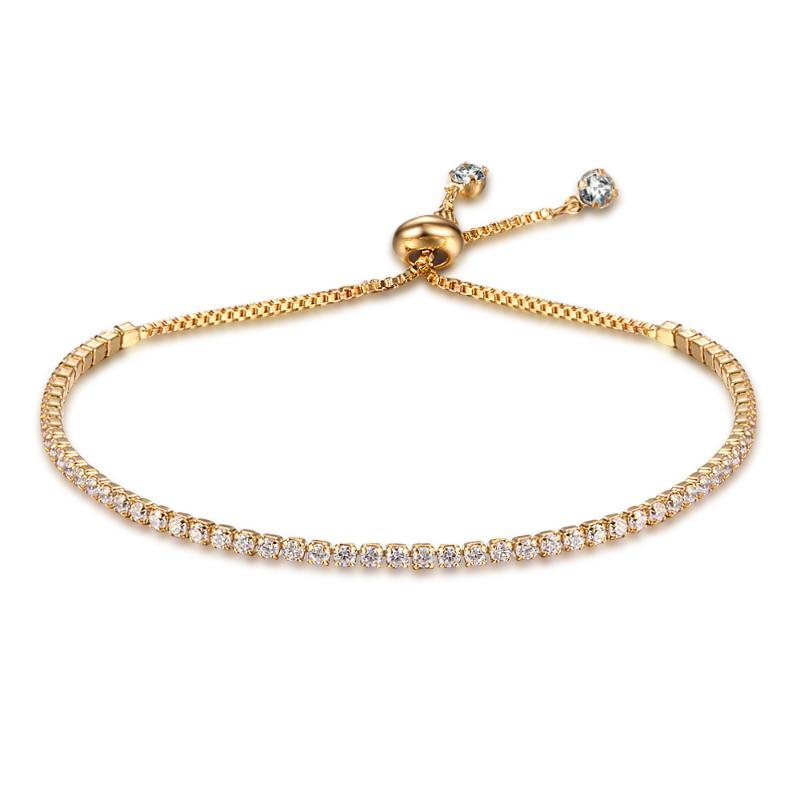 Collegamento, Braccialetti a catena per le donne 2 colori Cubic Zirconia Bracciale Braccialetti Bangles Crystal Zircon Stones Argento regolabile / oro