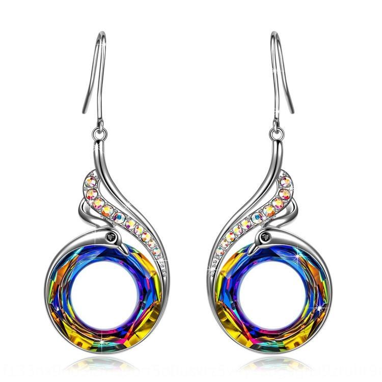 uQE8S Nuove colorato di cristallo e pavone cristallo gradiente geometriche colore orecchini tondi Orecchini