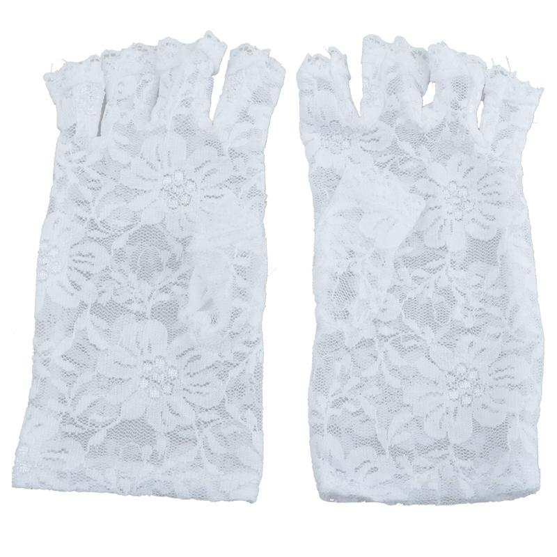 WHITE Fingerless SHORT LACE ПЕРЧАТКА FANCY DRESS ФРАНЦУЗСКОГО МЭЙД MADONNA 80s