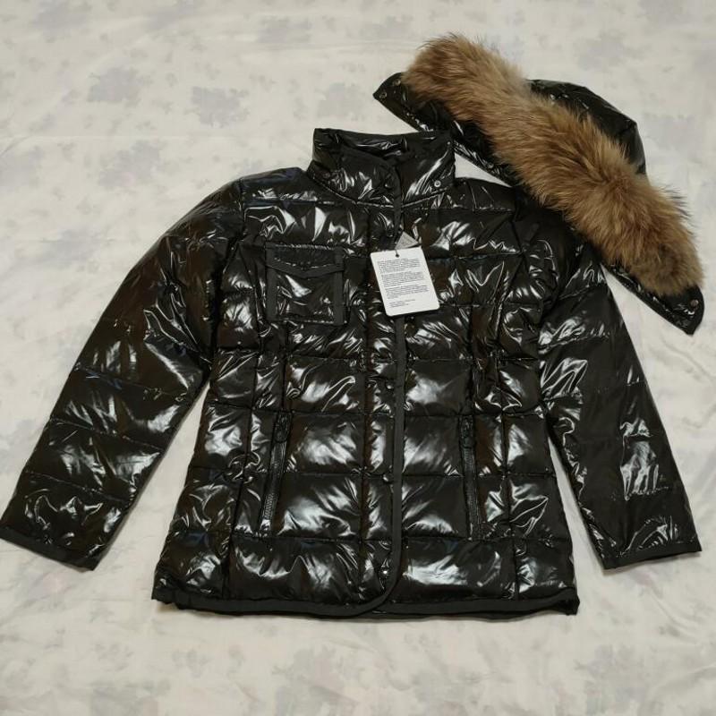 chaqueta de invierno de las mujeres de las ventas calientes desmontable collar de piel de mapache Abrigo de invierno abrigo abajo cubre delgado Parkas Chaquetas de abrigos de invierno