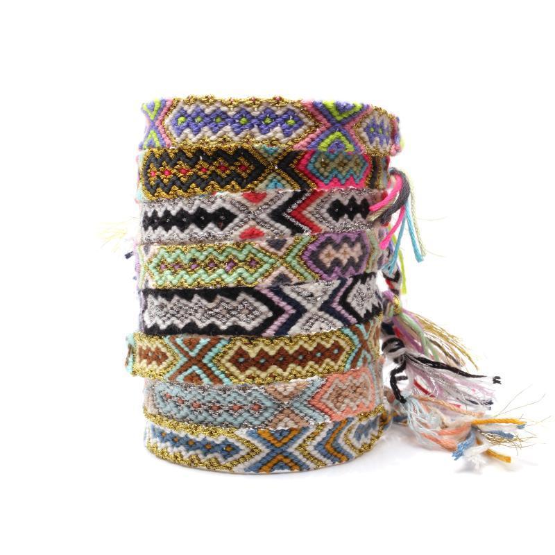 Boho colorido hilo de bordar trenzado Pulsera de la amistad Hombres Mujeres Hippie azteca maya tradicional pulseras regalo étnica tejida