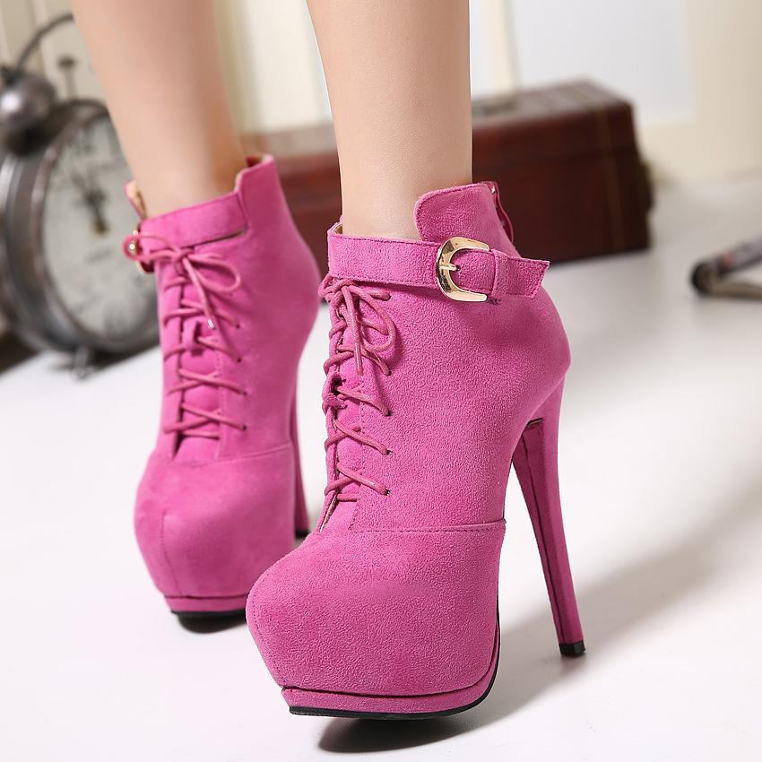 14cm Ultra yüksek topuklu kadın ayak bileği patik tasarımcı kış botları pembe black001