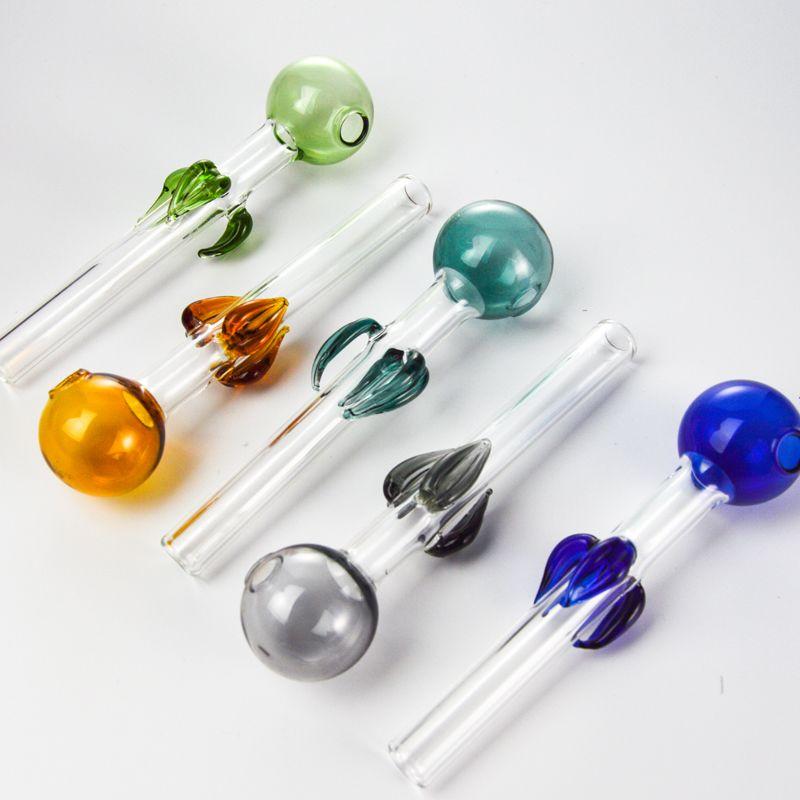 Ventas al por mayor Tubo de color del quemador de aceite de vidrio 12 mm OD Pyrex Glass Glass Pipes Tabaco Bong Tubos para fumar Accesorios SW89