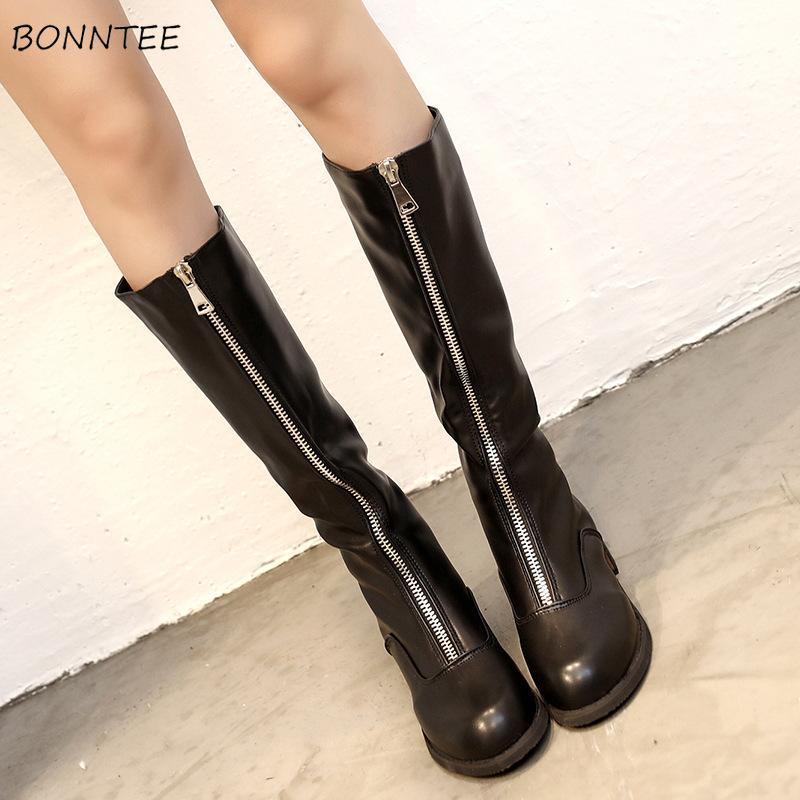 Stiefel Damen Fashion Reißverschluss-Knie-Hohe Arbeits Safety Plus Velvet Stiefel Damen Warm Freizeit PU-Leder-Schuhe Damen-europäische Art