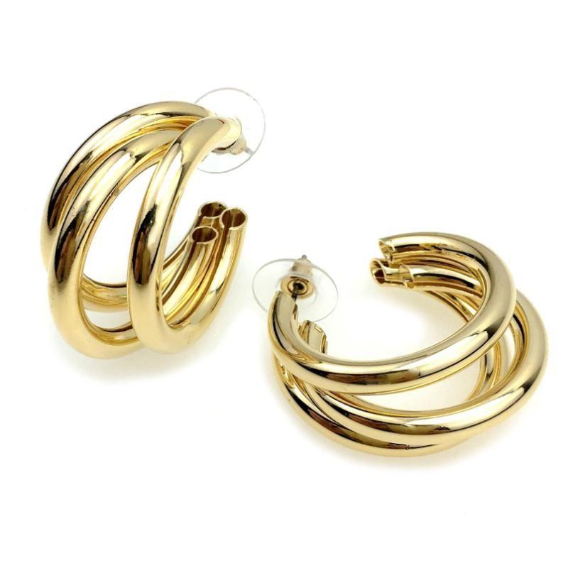 Punk 3 strati del tubo del metallo della vite prigioniera orecchini per le donne geometrica Orecchini Dichiarazione Brincos Fashion Jewelry UKMOC