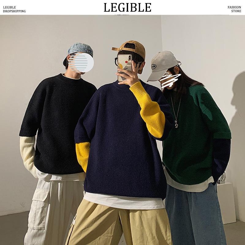 LESBAR koreanische O-Ausschnitt Langarm Pullover Männer 2020 Herbst beiläufige gestrickte Pullover Männer Warm Tops Übergroße Männerkleidung