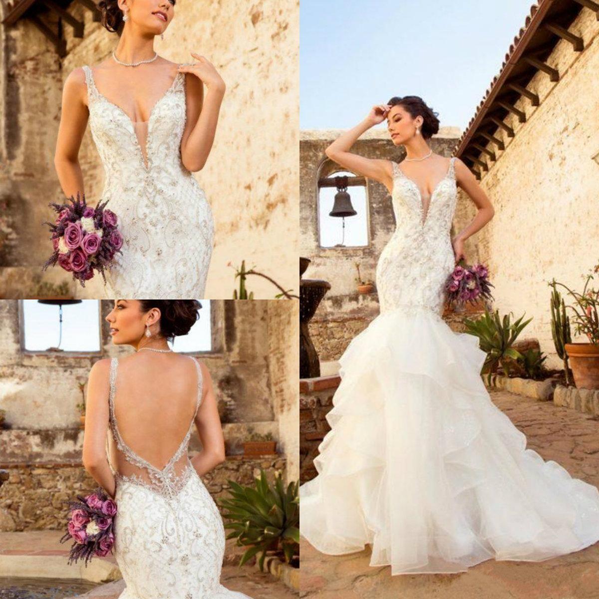 Gatito Chen 2020 vestidos de boda con gradas faldas de encaje apliques con cuentas cuello en V vestidos de sirena vestido de novia Novia Vestido De