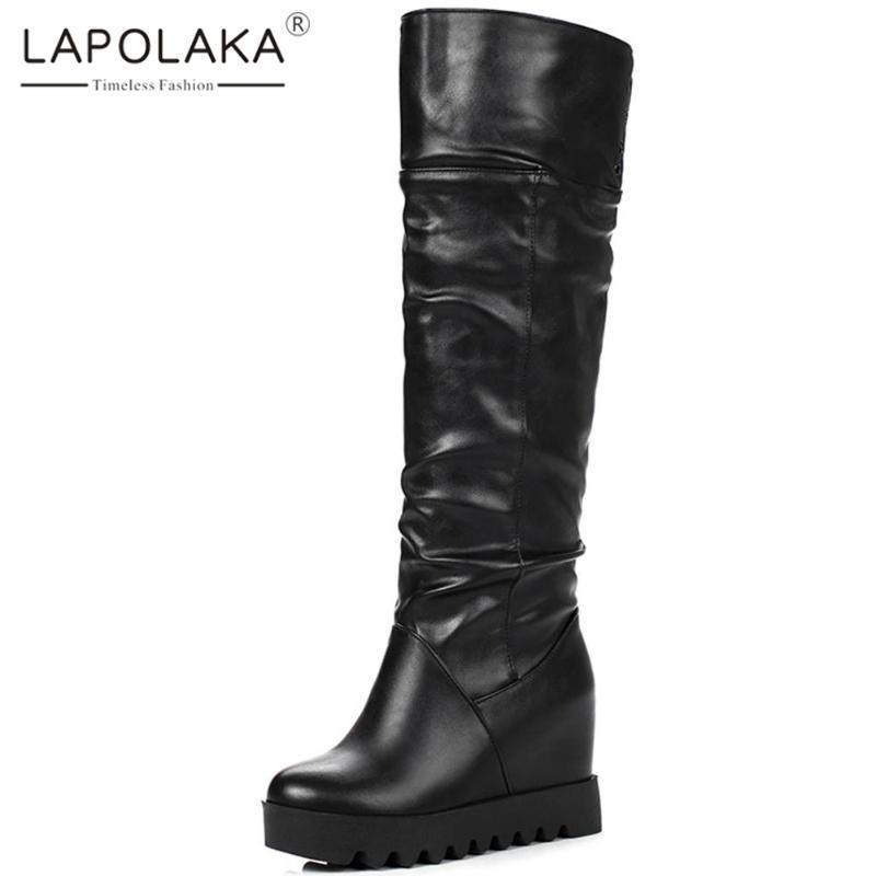 Lapolaka Новая мода Большой размер 31-43 платформы скольжения на Мид теленок сапоги женские туфли на каблуках Возрастающий Черный Белый Женская обувь Сапоги