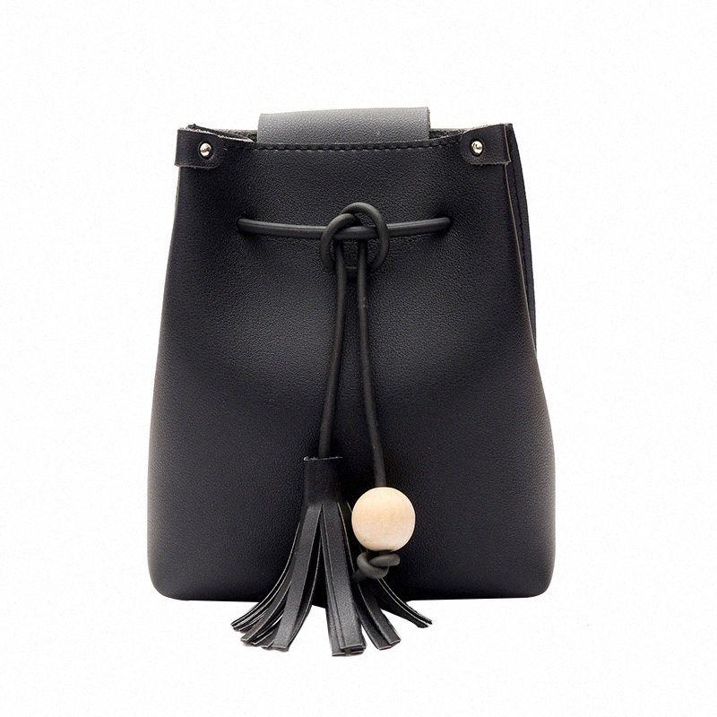 Мода Мини Женщина Ковш сумка кисточка украшение Женщина мешок плеча вскользь Простой Crossbody сумка XWYg #