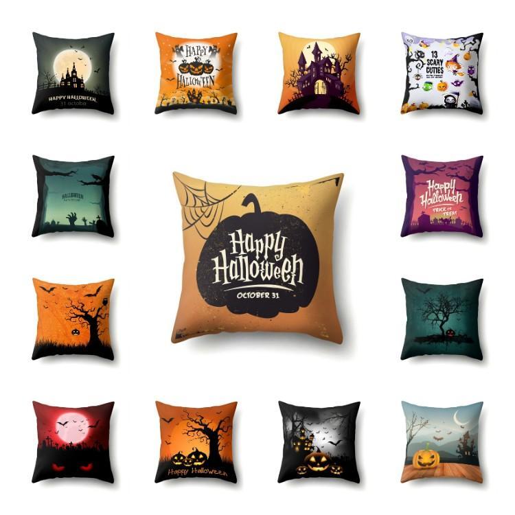 Happy Halloween pillowcase car sofa cushion cover pillow case polyester fiber pillow cover for Halloween T2I51541