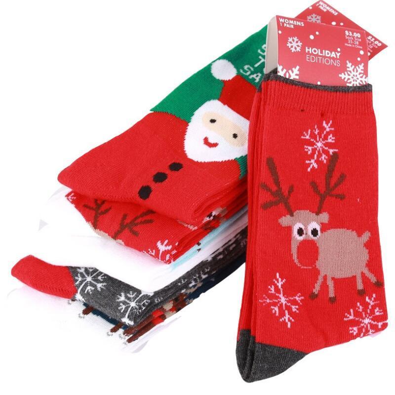Winter Femmes Chaussettes Rouge Christmas Chaussette Mignonne Dessin animé Elk Cerf Chaussures Coton Gardez Chaud Baby Girl Garçon Soft Soft Socks EWD1733