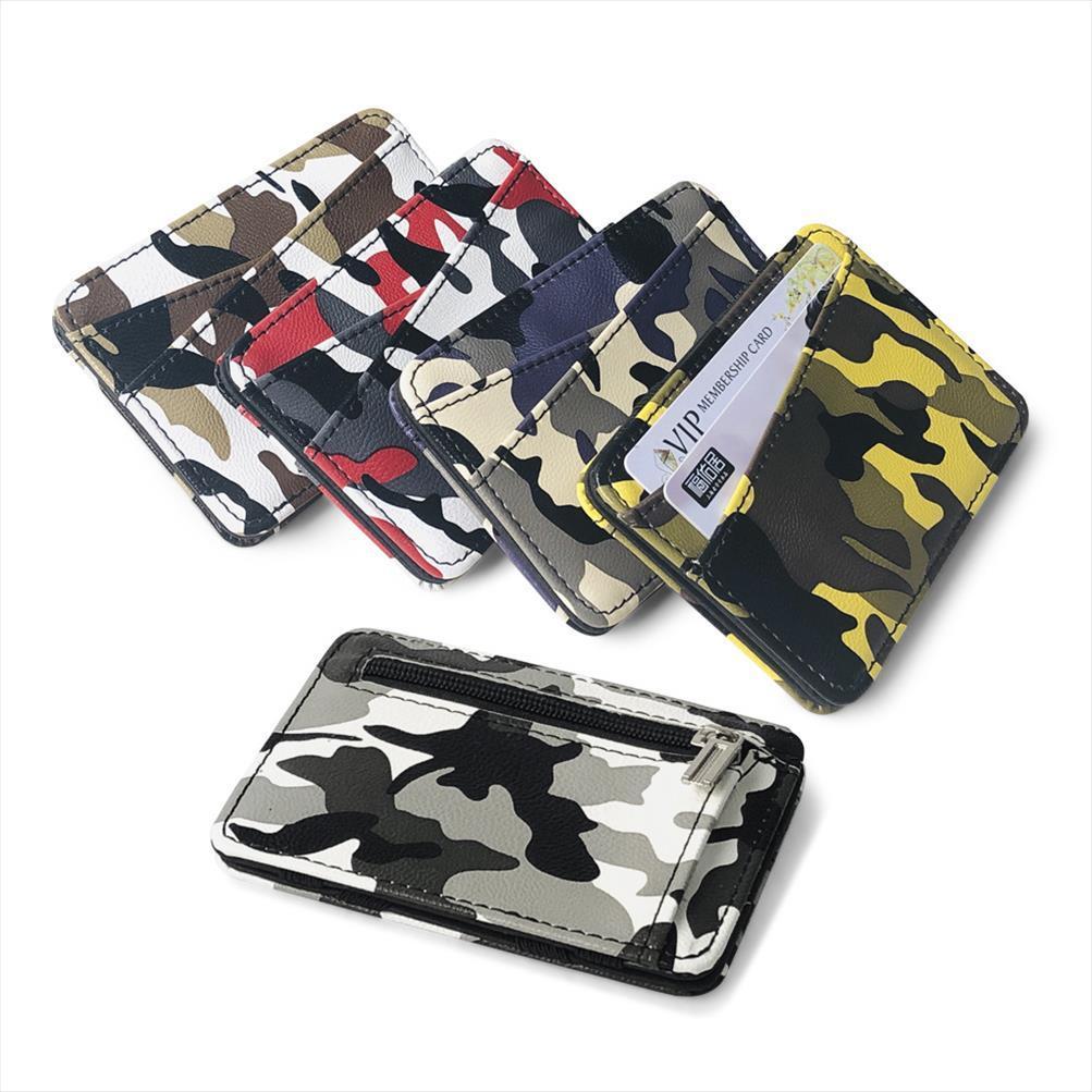 Bank Army Camouflage Mini Hommes Bag Clip Portefeuille Poche Money Card Slim Porte-monnaie avec cuir Nouveau Credit Credit Card Titulaire de la magie Tigak