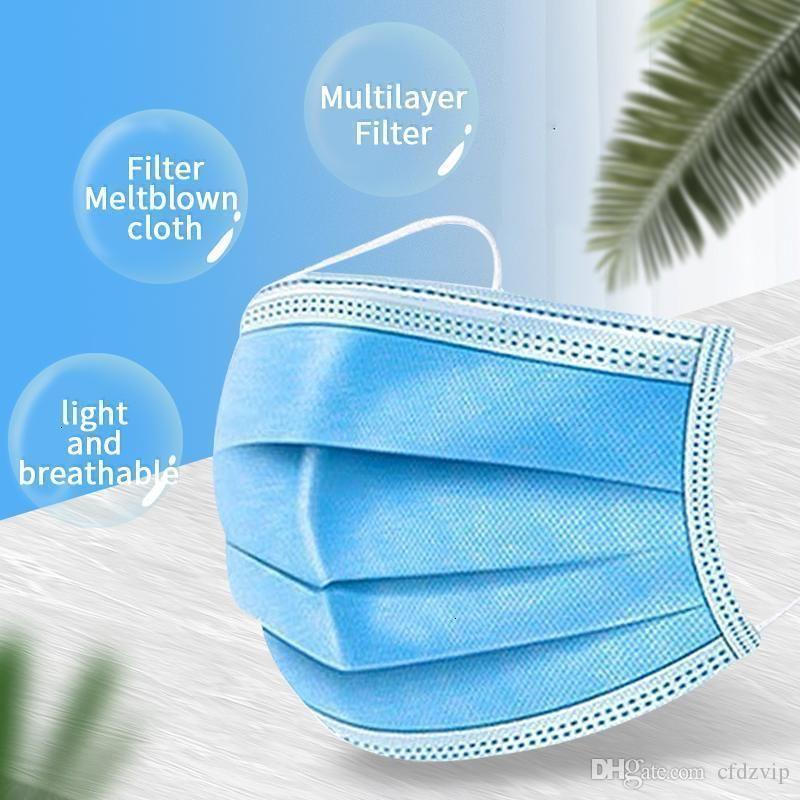 Máscara cubierta de polvo mascarillas desechables Boca Desinger Cara 3-capas 3-ply Soft transpirable Anti-polvo F006