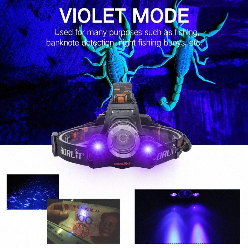 2000lm 3LED T6 XPE lumière UV Lampe frontale extérieur Lampe frontale phare USB étanche Torches Lanterne pour la chasse 0Ovw #