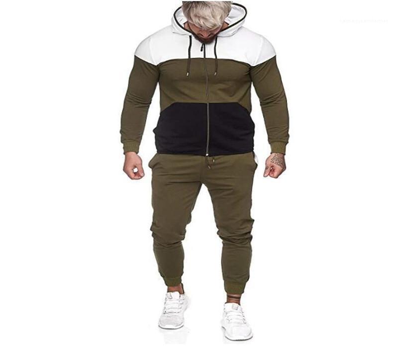 Sweatpants Setleri Casual Erkek Spor Sonbahar Yeni Erkek eşofman Sokak Stili Kontrast Renk Uzun Kol Kapşonlu Hırka