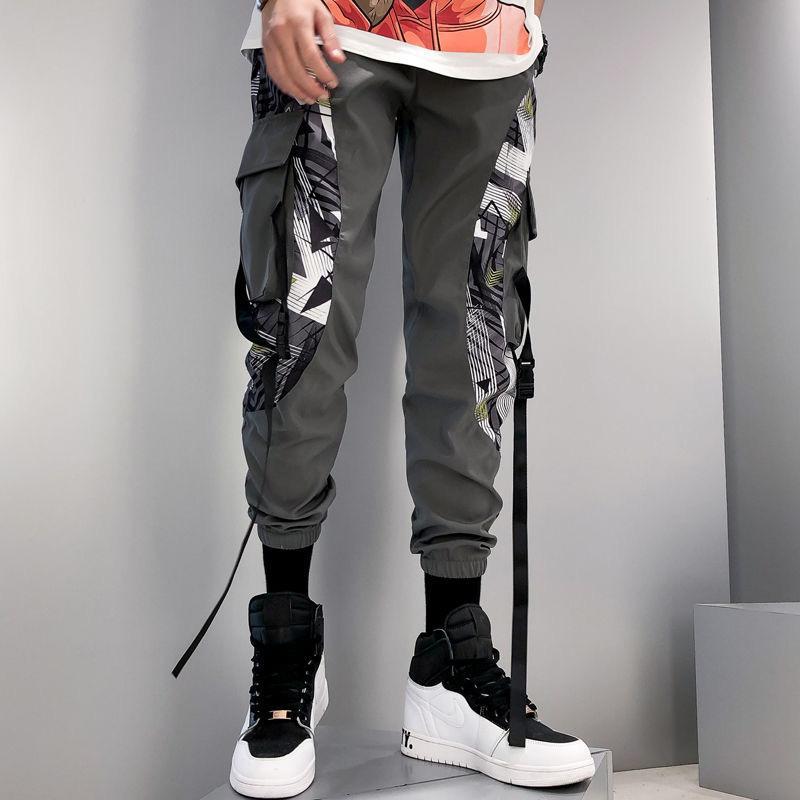 Hip Hop de Calle Pantalones hombres remiendo bolsillo lateral 2020 Nueva Loose pantalón Joggers tobillo de los hombres pantalones de la longitud Hombre
