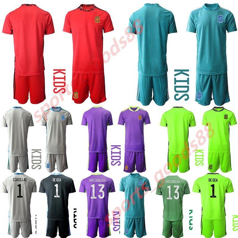 2020 2021 crianças Espanha Futebol Selecção Goleiro camisa de futebol Iker Casillas De Gea Arrizabalaga jérsei kit Casa Fora KIT conjuntos de uniforme
