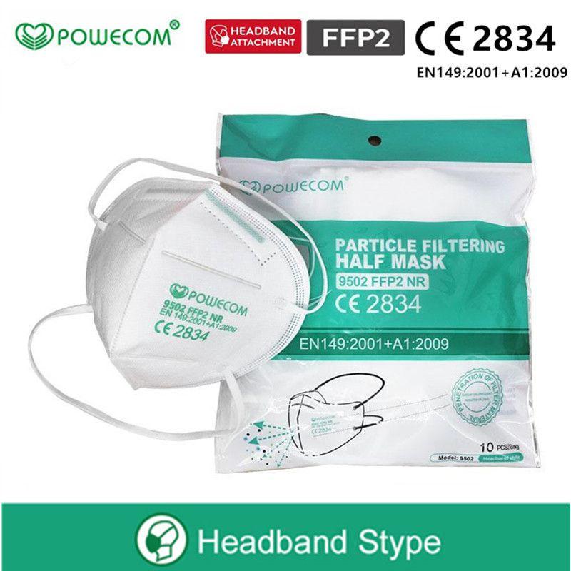 DHL frete grátis! Powecom KN95 Máscara Máscara Adulto Anti-embaçamento Influenza KN95 Rosto e Máscara FFP2 com CE 2834 certificado