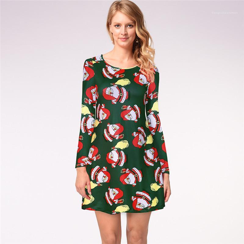 Noël à manches longues Avslappnad Robe d'été Mode Bonhomme de neige Père Noël Motif Femmes Robes Designer