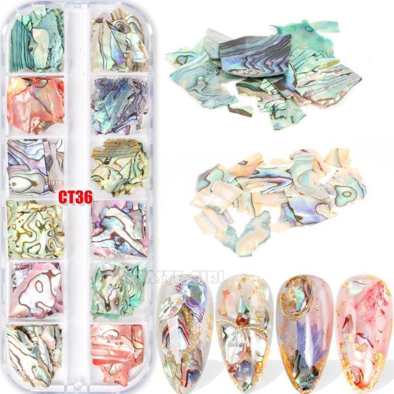 12 Couleur / Set coloré irrégulier Abalone Tranche ongles Glitter Fragments de coquille Manucure Nail Art Paillette Décorations Set