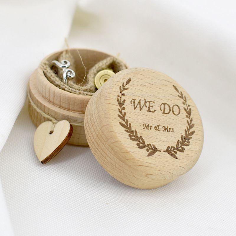 День Деревенской Свадьбы Вуд кольцо Box Валентин натуральное дерево кольца предъявитель Box Свадьба Невеста Жених Holder DIY хранение