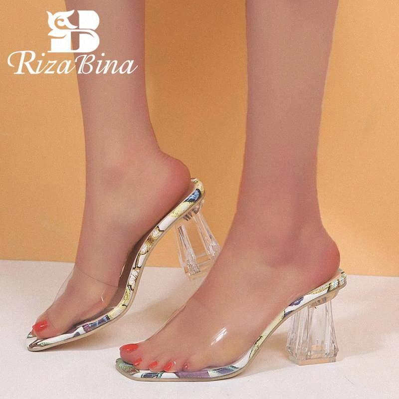 RizaBina Frauen-Absatz-Sandelholz-Transparent PVC-freie Heel Hausschuhe Sommer-Strand-Slides Schuhe Women Casual Schuhe Größe 35 41 Bride Xvii #