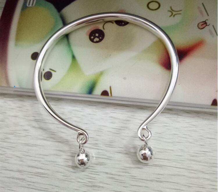 Новый 925 открытый чистый серебряный полый браслет глазурованные лица колокольчик серебряный браслет ноги змея яйцевидный простой твердый серебряный браслет висит р