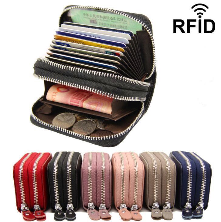 Mode Echtes Leder RFID Münze Geldbörse Brieftaschen Männer Frauen Doppel Zippy ID Karteninhaber Visitenkarten Treiber Lizenzhalter Pouch Tasche GE2
