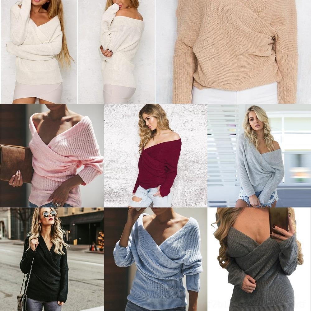 W7GMU 2020 outono e 8 de novo sólido inverno OL Mulheres camisola suéter para suburbanos cor cores