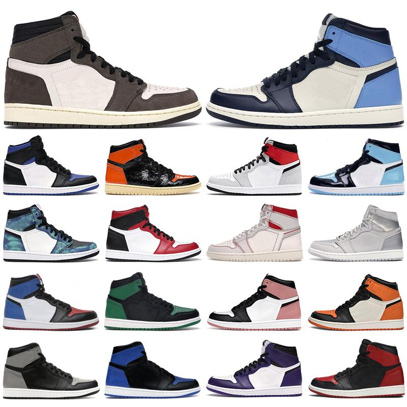 Mens basketball shoes 1s high og Obsidian Royal Toe Black white Rust Pink UNC Tie Dye Chicago 1 men women trainers sports sneakers