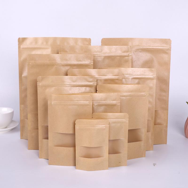 Kraft Paper Sac 12 Tailles Stand up Cadeau Séché Dried Tea Emballage Pochettes Papiers Kraft Sac de vitre Détail Zipper Sac Soelling Sacs