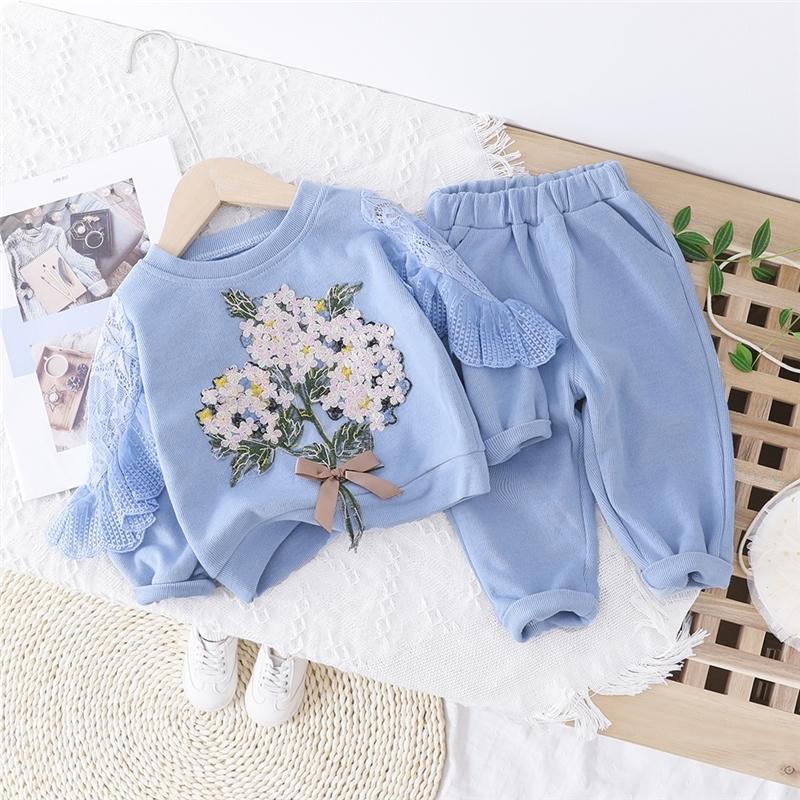 Bebek Kız Giyim Kostüm 200918 Bebek Giyim Çocuk Tatil Bebek Güzel Çiçekler Dantel T Gömlek Pantolon ayarlar