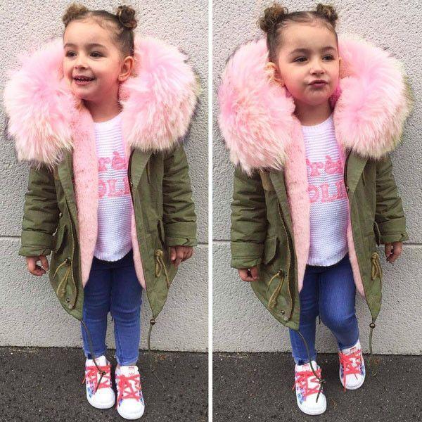 Дети Толстые хлопка с капюшоном куртка теплая одежда Мода зима малышей пальто осень зима Детская одежда Детская одежда