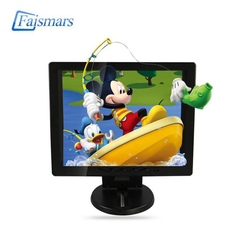 Faismars 10.4 / 12 인치 광장 화면 검은 색 플라스틱 케이스 CCTV 보안 원격 제어 BNC / VGA / AV / HDMI로 표시 모니터링 / USB