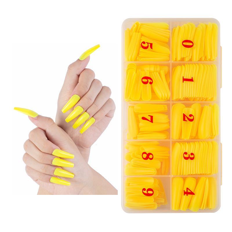 GW 500 pièces / boîte PP Matériau boîte ABS couleur unie naturel bricolage pleine couverture longue nail art cercueil