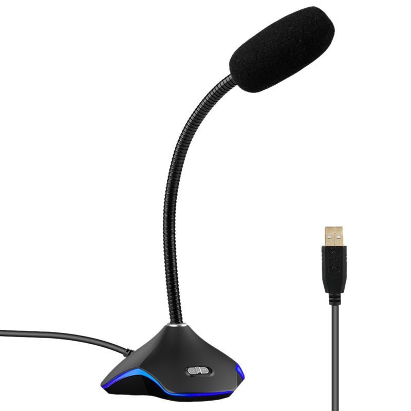 Microfone USB com luz LED para PC Notebook Laptop desktop Gaming Conversando YouTube Redução de Ruído Microfone