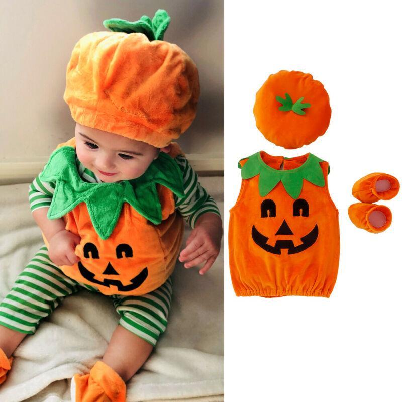 Halloween Kid Baby Girl Ragazzi zucca Top Hat Outfit del partito del vestito operato vestiti costume