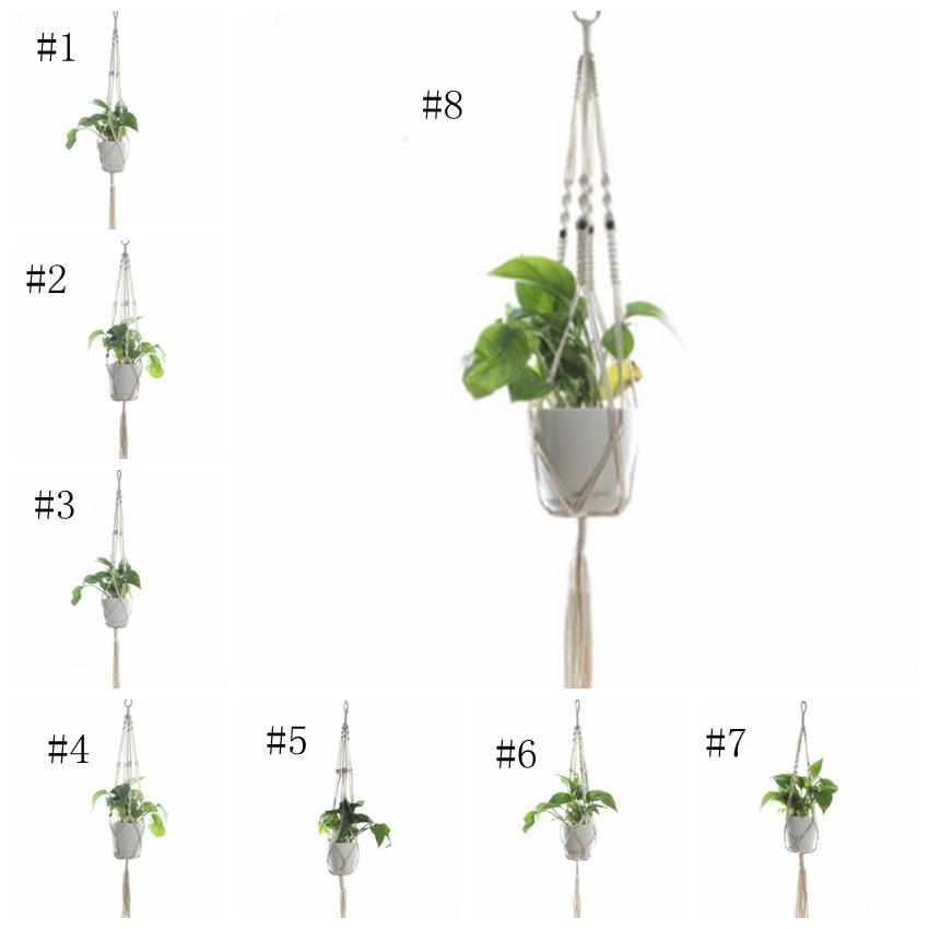 Bitki Askıları Makrome Saksılar Tutucu Halat Örgülü Asılı Ekici Sepet Ev Bahçe Dekor 8 Tasarımlar Opsiyonel AAB1075