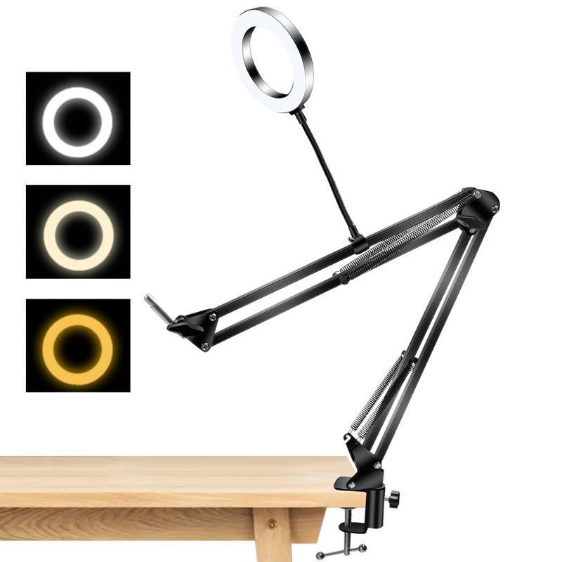 6/10 pulgadas de sobremesa anillo de iluminación de la luz largo brazo de soporte regulable 16cm luz de escritorio ajustable para el retrato de fotos en vivo