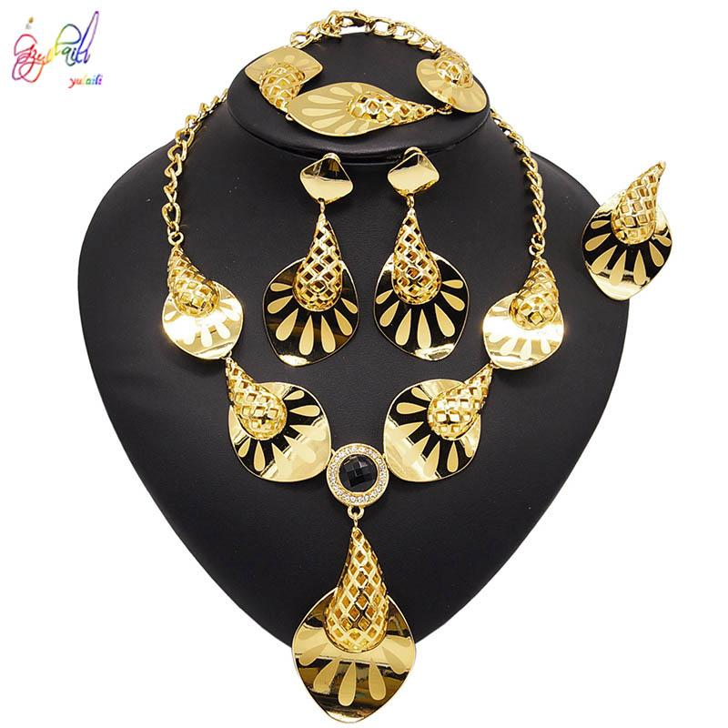 Yulaili New Fashion Dubai Gold Jewelry Sets Pendant Necklace Earrings Bracelet Ring for Women Metal Russia Jewellery Gifts